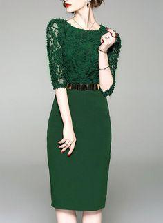 [US$ 43.99] Lace Round Neck Knee Length Sheath Dress (199230181) Dress Brukat, Lace Dress, Sheath Dress, Slim Fit Dresses, Casual Dresses, Elegant Dresses For Women, Mini Vestidos, Daytime Dresses, Mode Hijab