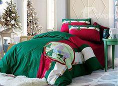 Christmas Reindeer Tree Print Green Cotton  Piece Duvet Cover Sets