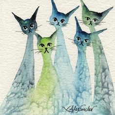 Lakeland Stray Cats | Lori Alexander | http://www.straycatartbylorialexander.com/whimsical-cats