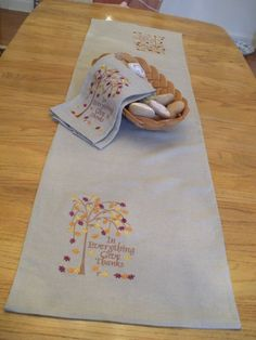 Embroidered In Everything Give Thanks Table Runner by embrant, $55.00