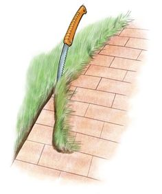 Easy+cleanup+for+brick+edging. Use old pruning saw to cut along bricks and pull out in a single strip.