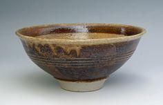 Birchall, Alan AB170 Bowl. Oak ash glaze over red slip. 22 x 10 cm