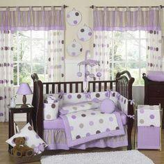 Mod Dots Purple & Chocolate bedding by JoJo Designs - Baby Crib Bedding - moddots-ch-lav-9