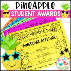 Stand tall and party like a pineapple with these fun golden pineapple end of the year student awards! 50 pre-made titled awards, a blank award, and 2 pineapple quote awards are included! Student name, teacher name, and date are editable by typing in the provided text boxes. Create your own award title with the blank version! Print these BLACK & WHITE awards on Astrobrights paper for a POP of COLOR or students can color their awards! These are the perfect end of the year awards for a class…