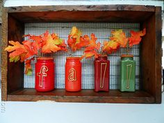 Paint Coated Jar Vases for Fall - Crafts by Amanda