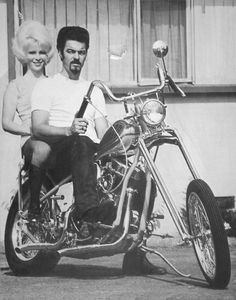 Old school. Couple on Chopper