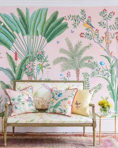 By Felicity - Design Inspiration | Collaboration: Aquazzura x de Gournay's Amazing Pink Jungle