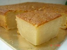 Mochi Cake: 3 cups mochiko, 2 1/2 cups sugar, 2 teaspoons baking powder, 1/4 teaspoon salt, 2 (14-oz) cans unsweetened coconut milk (not low-fat), 5 large eggs, 1/2 stick (1/4 cup) unsalted butter, melted and cooled,1 teaspoon vanilla; Mix dry and wet ingredients separately, then combine. Bake at 350 in ungreased 9x13 inch pan for 90 minutes.