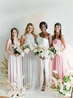 This How To for dyed bridesmaid dresses shows you how you can use Rit Dye to ace the mismatched bridesmaid trend and not break the bank! We dyed convertible maxi dresses in pastel tones to match the elegant mood of this modern minimalist wedding aesthetic. See the full DIY on Ruffled! #mismatchedbridesmaids #weddingtrends #dyedweddingideas Patterned Bridesmaid Dresses, Affordable Bridesmaid Dresses, Mismatched Bridesmaid Dresses, Bridesmaids, Wedding Dresses, Diy Wedding Favors, Wedding Crafts, Tulle Dress, Maxi Dresses