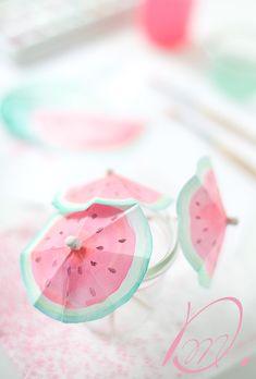 melonen cocktailschirmchen mit wasserfarben wunderschön-gemacht: wasser(melonen)farben