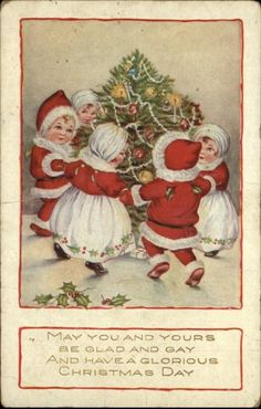 Nimble Nicks gather around a christmas tree.