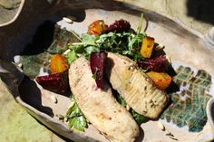 Oven Roasted Tilapia with Winter Vegetables and Citrus Vinaigrette Recipe