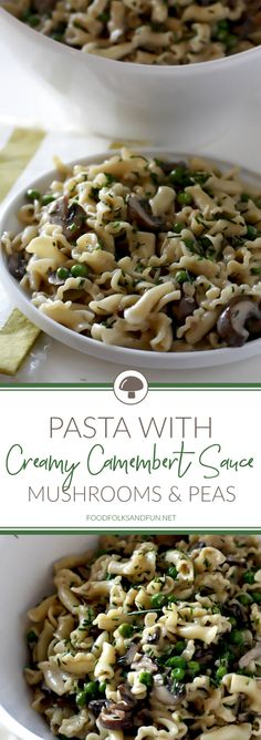 This Pasta with Mushrooms Peas and Creamy Camembert Sauce is a great meatless weeknight dinner thats rich and hearty tasting. The mushrooms give it a meaty flavor that is completely satisfying. Slow Cooker Recipes, Crockpot Recipes, Cooking Recipes, Meatless Recipes, Top Recipes, Pizza Recipes, Sauce Recipes, Vegan Recipes, Pastries