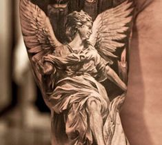 Realistic black and gray Angel tattoo art by Niki Norberg