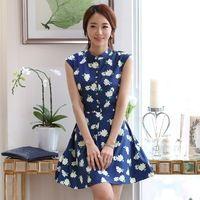 Factory direct spring 2015 new printed chiffon dress with slim slim fit sleeveless dress