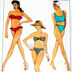 Misses Bikinis Vintage 1980s Pattern. 3 Variations. Ruffles, Bandeau, Modified Racer Back. High Cut Legs. - product images  of