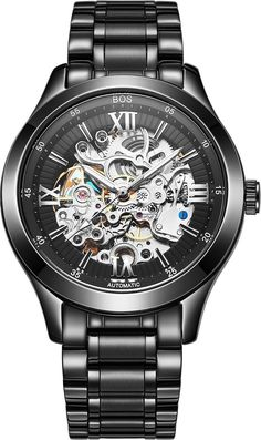 BOS Men's Automatic self-wind mechanical Pointer Skeleton Watch Black Dial Stainless Steel Band 9008