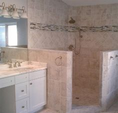Walk-in Shower! No glass to clean!