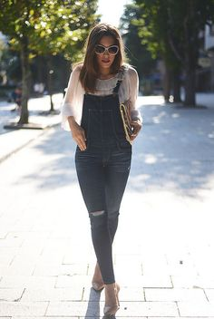 f266e0652f Zara Blue Distressed Denim Fitted Women s Dungarees by The Fashion Through  My Eyes