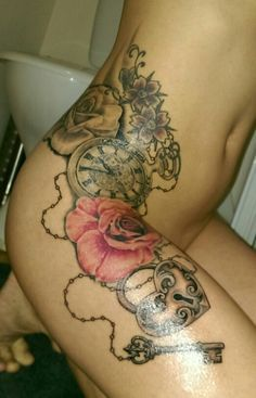 Roses, clock, heartlock & key tattoo