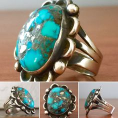 Vintage 1950's Navajo Sterling silver and Bisbee Turquoise ring... Beautiful stone with pyrite inclusions...