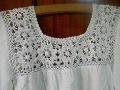Sleeveless cream lace top made with gauze fabric, Cotton boho crochet top blouse Crochet Yoke, Crochet Fabric, Crochet Collar, Crochet Blouse, Cotton Crochet, Crochet Baby, Crochet Patterns, Gauze Fabric, White Crochet Top