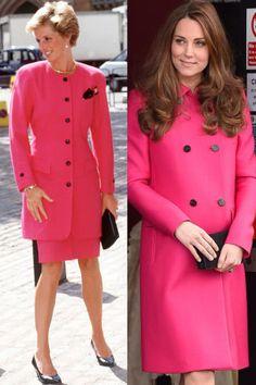 28 photos of Princess Diana and Kate Middleton's similar style.
