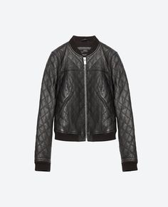 Image 8 of LEATHER BOMBER JACKET from Zara