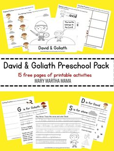 David and Goliath preschool pack- Free printable pack- 15 pages of preschool activities for David and Goliath- coloring, counting, cutting, pre-writing activities for Bible story of David and Goliath