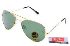 Aviator Ray Ban RB3025 Black Golden Frame Green Lenses $14.87