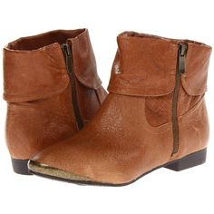 Chinese Laundry South Coast Women's Zip Boots, Brown ($63) ❤ liked on Polyvore featuring shoes, boots, ankle booties, brown, fold over boots, side zip boots, zipper booties, zipper boots i brown booties