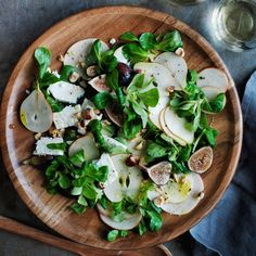 Mâche Salad with Figs and Pears | Williams-Sonoma (leave out the feta and this is VEGAN awesomeness)