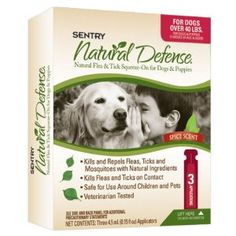 Sentry Natural Defense Natural Flea and Tick Squeeze-On for Dogs and Puppies 40-Pound and Over --- http://www.pinterest.com.gp1.me/3s