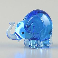 Tiny Blue Elephant Glass Figurine $11.99