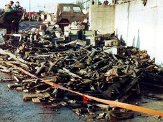 Disgarded Argentine weapons in Stanley.