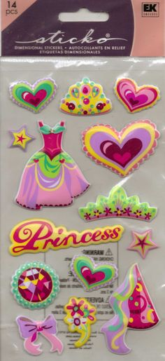 Ek Success Sticko PRINCESS Dimensional Stickers by ScrappinTreasures on Etsy https://www.etsy.com/listing/218120477/ek-success-sticko-princess-dimensional