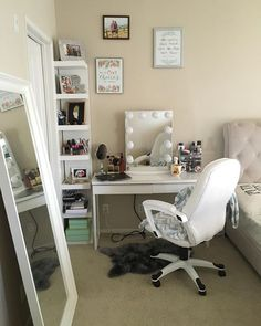 Instagram media by impressionsvanity - This corner space from @sshih is absolutely darling. #vanityinspo Featured: #ImpressionsVanityGlow in Glossy White + Frosted Bulbs + Ikea Lack Shelves