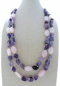 Amethyst necklace purple stone necklace pink by Sofiasbijoux