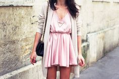 Soft pink and gray outfit.