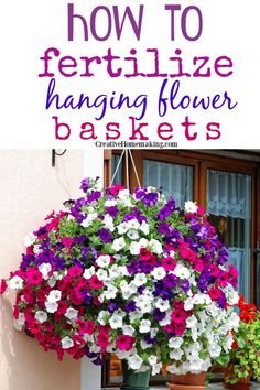 Easy DIY garden tips for fertilizing hanging baskets. Keep your flowers beautiful all summer. Garden Yard Ideas, Lawn And Garden, Garden Projects, Garden Tips, Garden Shrubs, Spring Garden, Outdoor Flowers, Outdoor Plants, Outdoor Gardens
