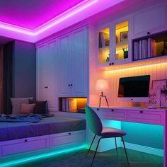 Room Ideas Bedroom, Bedroom Decor, Cool Bedroom Ideas, Neon Room Decor, Cool Teen Rooms, Awesome Bedrooms, Bedroom Furniture, Led Light Strips, Led Light Bed
