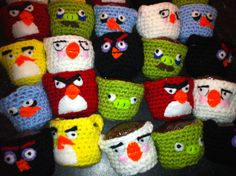 Angry birds crochet containers, class treat.
