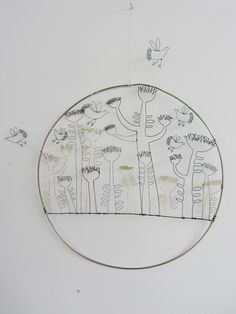 Wire Sculpture - 2D - Wall Art - Wire Drawing - Spring Flowers and Flying Birds - Home Decor - by spacefruit on Etsy - Becky Crawford