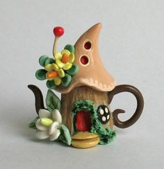 "Fairy teapot by C. Rohal (15/16"" high, hollow with removable lid)"