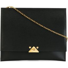Emporio Armani Envelope Clutch ($496) ❤ liked on Polyvore featuring bags, handbags, clutches, black, genuine leather purse, black leather purse, envelope clutch, leather clutches and real leather handbags