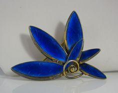 Vintage Sterling Silver & Blue Enamel Flower Brooch Pin Norway