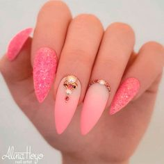 Matte Pink Gradient With Rhinestones #ombrenails #mattenails #rhinestonesnails ★ Are you looking for interesting and pretty graduation nails designs to look ideal at the ceremony? See our photo gallery to pick. #glaminati #lifestyle #graduationnails