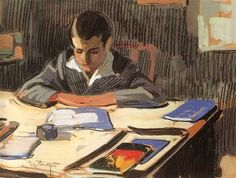 """Dimitri P. Studies"", 1930. Othon Pervolarakis (1887-1974), Greek painter."