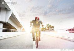 Teenage boy speeding up on bicycle