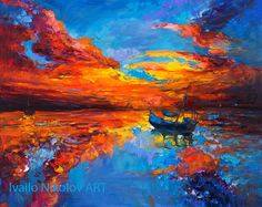 Original Oil Painting on Canvas- Night lights2 24'' x 32'' Seascape Painting Original Art Impressionistic Oil on Canvas by Ivailo Nikolov